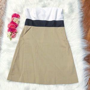 Theory Lunal Strapless Dress White Black Khaki 6